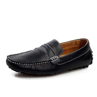 ZHAIZUBULUO Men's Flat Shoes Free Style Breathable Slip-ons Driving Shoes LX-9009(Black) - Intl