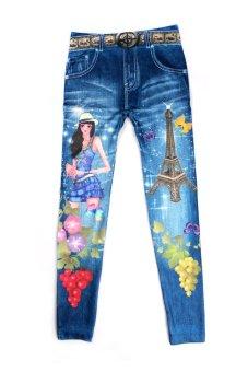3D Women Printed Leggings Blue (Intl)