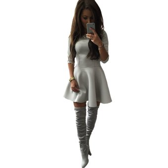 Women Dress O-Neck 3/4 Sleeve Back Zipper Solid Color Party A-lined Mini Dress Grey - Intl