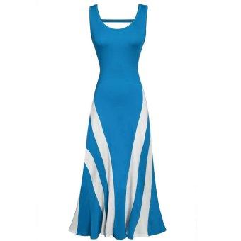 Cyber ANGVNS Women Fashion Sexy Casual Sleeveless Tank Striped Pachwork Hollow Back Flare Hem Long Maxi Dress (Blue) - Intl