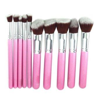 10Pcs Cosmetic Makeup Tool Brush Brushes Set Powder Eyeshadow Brush Pink+Silver (Intl)
