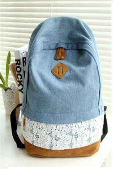 ILife Fresh Lace Denim Women's Canvas Backpack School Bag for Girl Ladies Teenagers Casual Travel Bags Blue