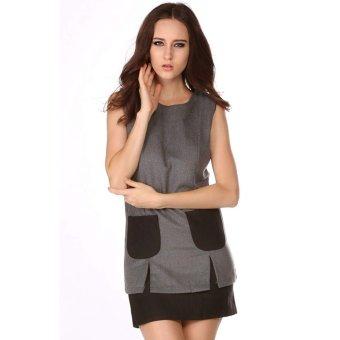 Cyber Fashion Women's OL Style Slim Sleeveless Round Collar Dress (Grey) (Intl)