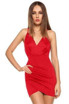 Toprank Women Spaghetti Strap Dress Plus Size Hollow Out Deep V-Neck Sexy Dress Casual Party Dress ( Red ) - Intl