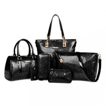 6 Set PU Leather Bag Lady Handbag Shoulder Crossbody Handbag and Messenger Bag and Purse and key Bags Oblique Package (Black) - Intl