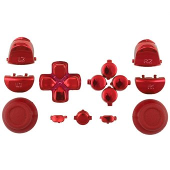 Chrome Red Full Buttons Set Replacement Parts for PS4 Controller (Intl)