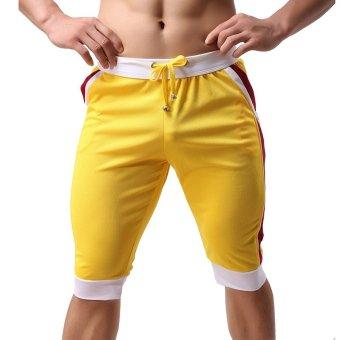 Cocotina Mens Sports Gym Jogger Training Athletic Beach Shorts Drawstring Pants Casual Sweatpants (Yellow)- Intl