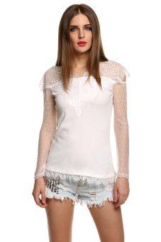 ASTAR Women Lace Sleeve Chiffon Blouses Shirts Long Sleeve Hollow Crochet Tops ( White ) - Intl