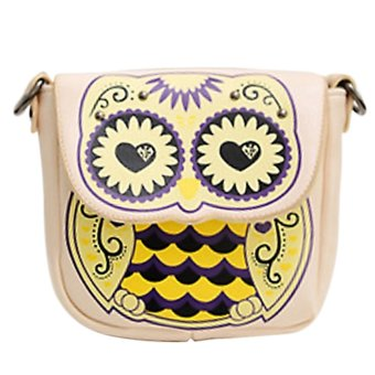 Women Ladies Girls Cartoon Owl and Floral Pattern Handbag Cross Body Purse Messenger Single Shoulder Bag Satchel Beige - INTL
