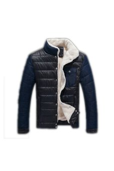 Men's Big Size Stand Collar Spell Color Coat Thick Cotton Jacket(Black) (Intl)