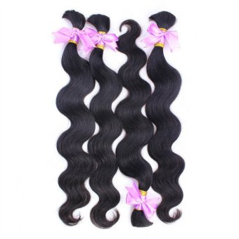 "Originea 7A Full Cuticle Brazilian Virgin Hair Bulk For Braiding Body Wave Hair Natural Color 4 pieces lot 28"" - Intl"