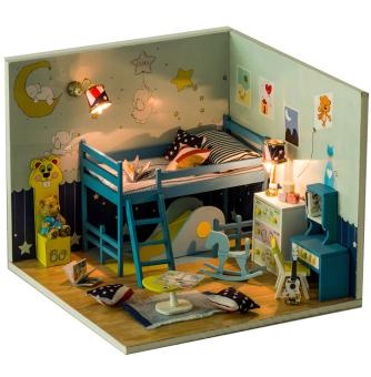 harga A1toys DIY Miniature House Kamar Anak Plus Lampu LED & Akrilik C Lazada.co.id