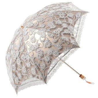 Women Ladies Girls Portable Lace Twice Folding Outdoor Anti UV Sun Shade Parasol Umbrella with Storage Pouch Grey (Intl)