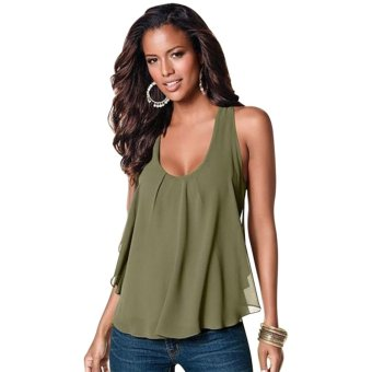 Cyber Women Casual Bilayer Semi-sheer Sleeveless Chiffon Loose Patchwork Tank Tops (Army Green)- Intl