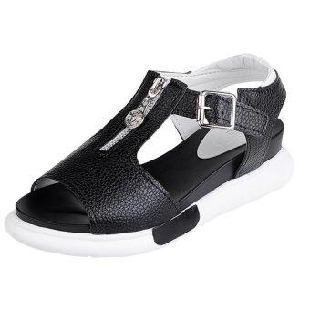 Girls new Korean fashion casual flat Roman sandals zipper(black)- Intl