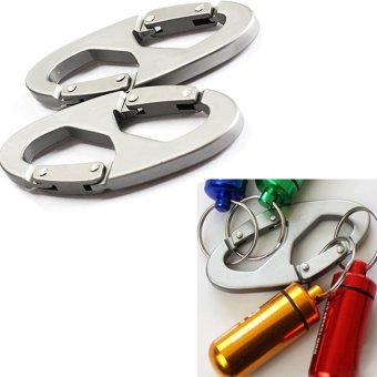 HKS 2Pcs 8-Shaped Aluminum Carabiner Clip Hook Hiking Climbing Hanger Buckle (Intl)