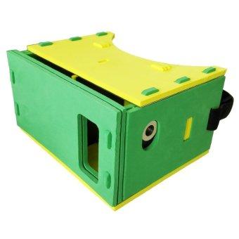 EVA Cardboard Leather Frame 3D Virtual Reality for Smartphone - GreenYellow
