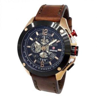 harga Expedition 6697 - Jam Tangan Pria - E6697 - Rose Gold Black - Leather Coklat - Anti Air Lazada.co.id