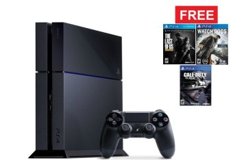 SONY Playstation 4 + 3 Bluray Games - Hitam