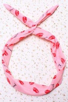 Buytra Dots Hairband Lips Bunny Rabbit Ears Pink- Intl