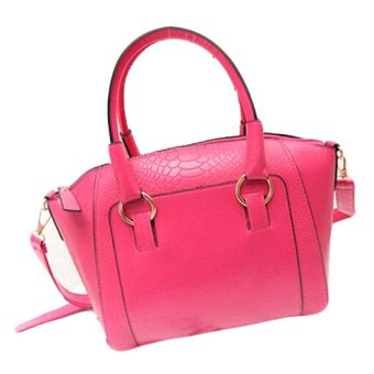 Faux Crocodile Patter Leather Tote Bag (Pink)- Intl