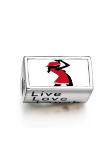 Rare Love Girl with Red Christmas Costume Photo Live Love Laugh European Charm Bead