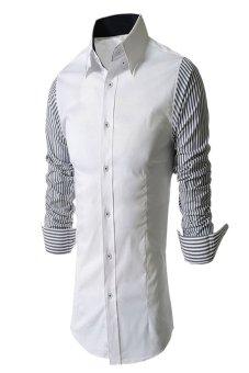 Striped Stitching Slim Formal Shirt (White)