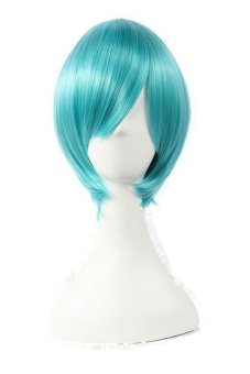 Flapper Bob Cosplay Wig Party Costume Blue Green Mixed Short Straight Hair (Blue)- Intl
