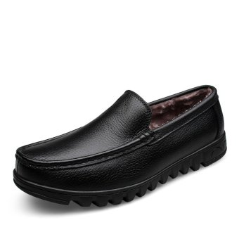 harga Leelerd HJM028 Men's Leather Casual Tip Winter Keep Warm Shoes (Black) (Intl) Lazada.co.id