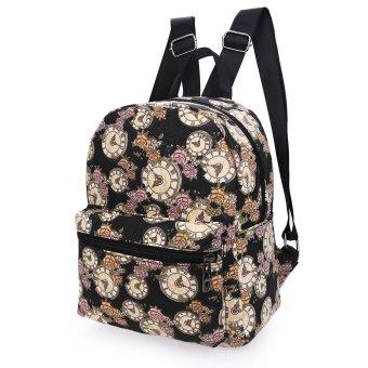 Lip Print Pattern Zipper Canvas Backpack for Women BLACK - INTL