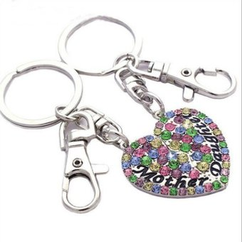 New Gift For Mom Jewelry Mother and Daughter Key Chain Ring Bag Charm Gift multicolor- Intl