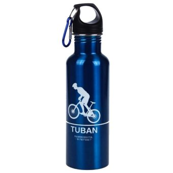 Universal Botol Minum Olahraga Aluminium 400ml Dengan Karabiner - Blue