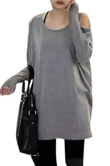 Jingle Casual Women Tops O-Neck Off Shoulder Long Sleeve Loose Long Solid Blouse Tops Size M (Gray)