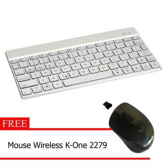 Bluetooth Keyboard F3S Plus Recharge + Gratis Mouse Wireless K-One 2279