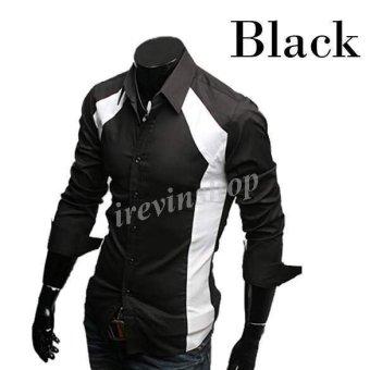 Happycat New Top Design Mens Casual Luxury Stylish Slim Long Sleeve TShirts Black/White irsh (Black) (L)