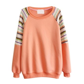 SuperCart Candy Color Womens Casual Knitted Fleece Inside Crew Neck Sweatshirt Pullover Hoodie Coat Outerwear Tops ( Orange )- Intl