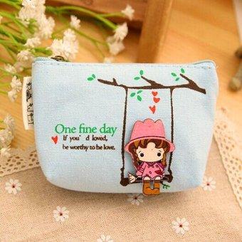 Adorable Women Canvas Wallet Small Clutch Zip Card Coin Holder Purse Handbag(Light Blue) - INTL