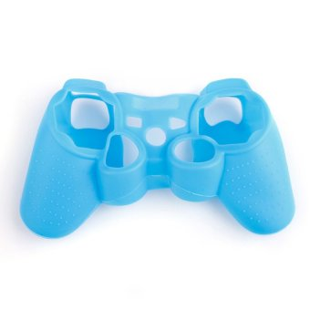 Generic Soft Silicone Protective Skin Cover Case Luminous for PS3 Controller (Blue)