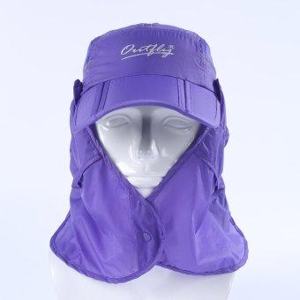 Camping Hiking Fishing Outdoor Big Wide Brim Face Neck Cover Flap Sun Hat Cap (purple) (Intl)