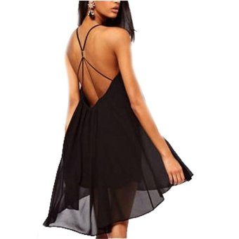 Womens Sexy Backless Hollow out Sleeveless Solid Chiffon Dresses (Black) (Intl)