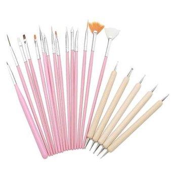 20pc Acrylic Nail Art Tips Design Brush Set, 15 Nail Art Painting Pens+ 5 Wood Dotting Painting pens(Pink)- Intl
