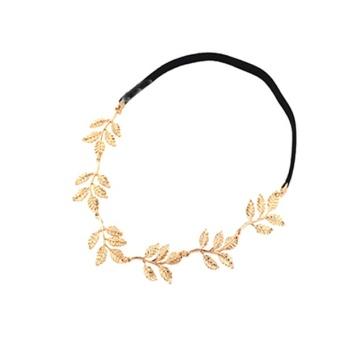 OEM Metal Rhinestone Gold Leaves Head Chain Jewelry Headband Head Piece (Intl)