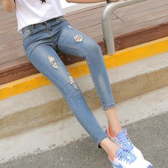 The New Spring and Summer Nine Hole Stretch Jeans Jeans Lady Slim Slim Waisted Pencil Pants (nostalgia In Blue) - Intl