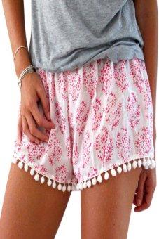 Astar Stylish Women Pants Fashion Summer Floral Print Trimmed Ball Tassel Beach Shorts (Red) (Intl)