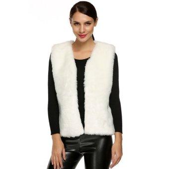 Astar ACEVOG Women Fashion Sleeveless Casual Faux Fur Vest Warm Coat Outwear(White) (Intl)