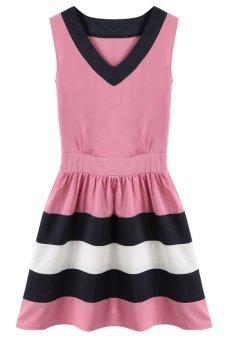 Astar Women Summer Chiffon Casual Short Mini Evening Party Dress (Pink) - Intl