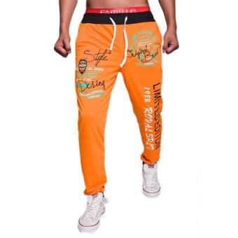 EOZY FASHION Men Sport Sweat Pants Korean Style Male Casual Pants English letters Pattern Baggy Dance Training Running Jogging Trousers (Orange) (Intl)