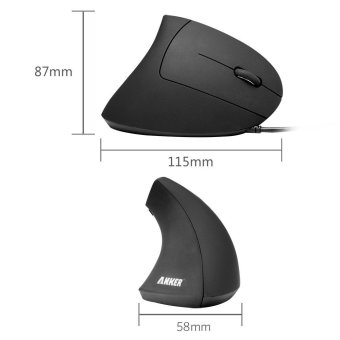 Anker Ergonomic Optical USB Wired Vertical Mouse 1000/1600 DPI 5 Buttons CE100 (Black) (Intl)