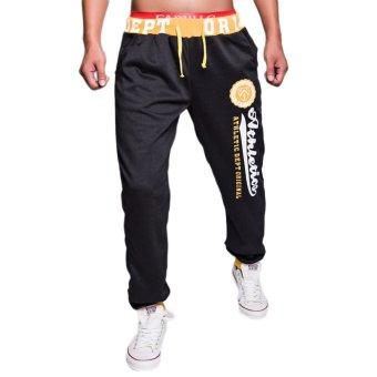EOZY FASHION Men Sport Sweat Pants Korean Style Male Casual Pants Stylish Training Running Jogging Trousers Slacks (Black & Yellow)(INTL)