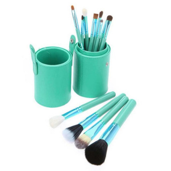 12 PCS Makeup Brush Set Cosmetic Brushes Make up Tool + Cup Leather Holder Case (Green) - INTL